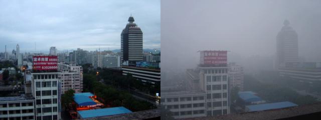 Beijing en dag i klart vejr, kontra en dag med meget smog. Foto: Bobak CC BY-SA 2,5, Wikimedia