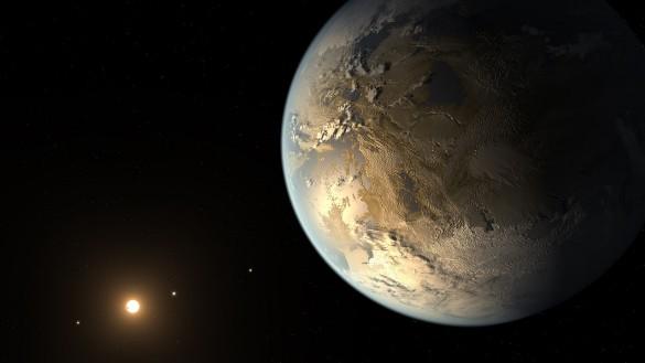 Kepler186f er en exoplanet på størrelse med Jorden i moderstjernens beboelige zone. Illustration: NASA Ames/SETI Institute.