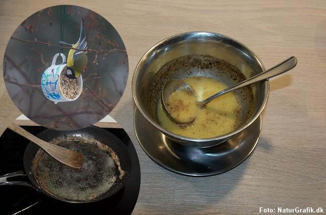 Genbrug fedtrester fra panden, sovsen m.m. og bland det med fuglefrø i en kop.