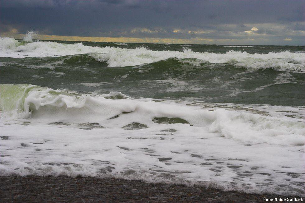 Havskum dannet ved at der piskes luftbobler i havvandet.