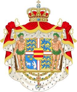 En kåbe af hermelinskind danner baggrund for det danske kongevåben.