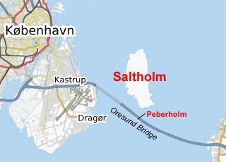 Saltholm i Øresund. Grafik: OpenStreetMap community.